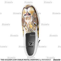 THE GOLDEN LION CHALK PASTEL DRAWING Slip-On SNEAKERS Kids Sneakers, Slip On Sneakers, Slip On Shoes, Golden Lions, Hat Shop, Pastel Drawing, Chalk Pastels, Custom Sneakers, Designer Shoes