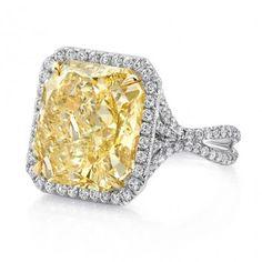 Image result for Radiant yellow diamond white diamond halo split shank