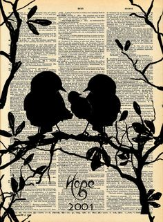 Your Family Tree Love Bird Family Antique Dictionary Page