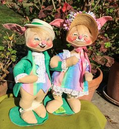Check out Two ANNALEE EASTER RARE Bunny Couple Figurines - Tall 19in Adorable Pair - 1976  - Perfect on thriftnstyle