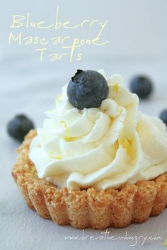 Blueberry Mascarpone Tart with Lemon Shortbread Crust - low carb and gluten free!