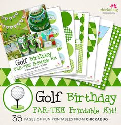 Golf birthday party printables collection - 35 pages of designs for your party decor
