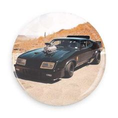 Believe it or not, but flair is really important in the post nuclear apocalyptic wasteland. This button features Mad Max's Custom Interceptor from the Mad Max films. Each pin back button measures appr