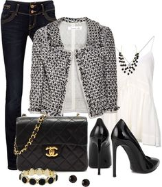 """Black and White Blazer"" by averbeek on Polyvore"