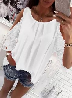 Blouses Women Cold Shoulder Casual Shirts Blouse Hollow Out Sleeve Loose Blusa Plus Size Mode Top White - 2018 Lifestyleandgenius Casual Tops For Women, Blouses For Women, Ladies Blouses, Cold Shoulder Bluse, Sexy Bluse, Mode Top, Chiffon Shirt, Plus Size Blouses, Blouse Styles