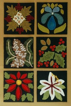 Welcome to my latest design, Four Seasons of Flowers. Consisting of a total of 24 blocks, each 6 x 6, you will find six blocks for each of the four seasons, spring, summer, autumn, and winter. *** This pattern is for ONE of the six winter flowers, Poinsettia. All the other 23 blocks are listed separately. *** You may also choose the PATTERN & KIT option, when purchasing. If your purchase includes the kit, you will additionally receive a 6 x 6 100% black wool block, and all the colored 100%…