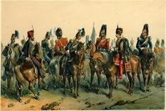 British cavalry in the Crimea by Norie, L-R :15th Hussars, 10th Hussars, 13th light dragoons, Scots Greys, 17th Lancers, 2nd Dragoon Gds, 11th Hussars, and 6th Dragoon Gds Carabiniers. c.1854.