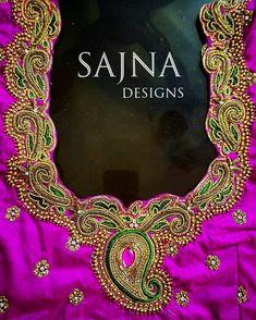 #stoneandsequinswork #beadsembroidery #zardosiembroidery #pinkandgreensaree #shortsleeveblouse #sajnadesigns #sajnabridalweardesigner #receptionblouse #weddingblouse #bridalblouse #indianwedding #indianbride #bride #wedding #silksareeblouse #designerblouses Best Blouse Designs, Simple Blouse Designs, Bridal Blouse Designs, Blouse Neck Designs, Embroidery Works, Couture Embroidery, Maggam Work Designs, Pattu Saree Blouse Designs, Designer Blouse Patterns