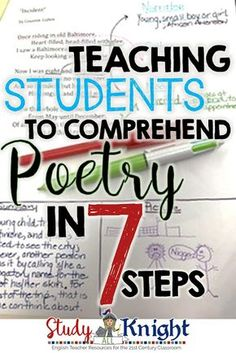 Teaching students to understand poetry does NOT need to be a challenge. Click through to see the seven steps that break it down and make it manageable. These seven steps will work great for your and grade classroom or home sch 7th Grade Ela, 6th Grade Reading, Middle School Reading, Middle School English, Middle School Literature, Sixth Grade, Fourth Grade, 5th Grade Poetry, 10th Grade English