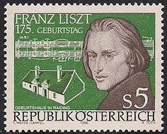 Austria 1986 - Franz Liszt fue un compositor austro-húngaro romántico, un virtuoso pianista, profesor, director de orquesta