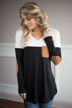 Cream and Black Pocket Top – The Pulse Boutique