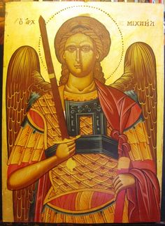 Agiography of Archangel Michael, painted by Konstantinos Kountouris.  style:tempera with leaves of gold  size:56x39