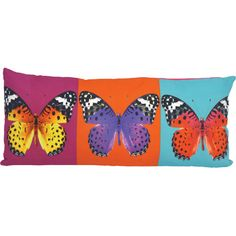 Featuring a butterfly print motif, this lovely pillow lends a pop of color to your living room or den.Product: Pillow...