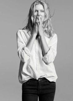 His white shirt *¨* Laid Back Style, My Style, White Shirts, Fashion Details, Autumn Winter Fashion, Black Pants, Fashion Beauty, Style Inspiration, Black And White