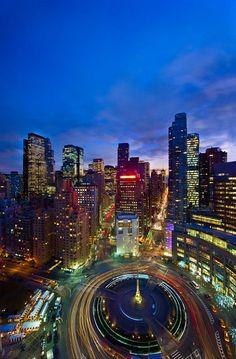 New York City Sparkles at Night ~ Columbus Circle.