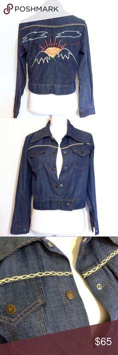0c8aaef2b349ef Vintage 70s embroidered denim jean jacket Genuine vintage 70s denim jean  jacket has a beautifully hand