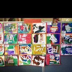 Preschool art show: masking tape art