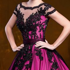 2015 Ball Gown Sheer Neck Fuchsia and Black Lace Crystals Quinceanera Dresses Two Pieces Low back 15 years Removable Skirt