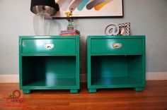CUSTOM ORDERS  Lacquered Campaign Nightstands by Drexel  MiVidaVintageLA, $1095.00 This is an example of a pair of high gloss emerald lacquered vintage Drexel nightstands with gold hardware.