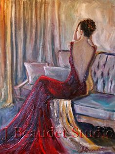 Original Oil Painting Figurative #woman in Red by JBeaudetStudios, $625.00 #art #painting sold