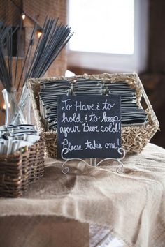 Koozie favor sign /// Photo by Taylor Whitham Photography via Project Wedding