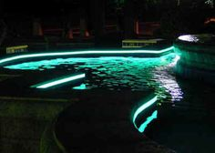 """The perimeter of this pool is lit using a 1"""" Light Tape mounted inside a protective extrusion, utilising a single electrical connection via an  RCD breaker."""