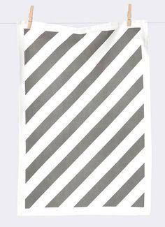 Ferm Living Cotone Dishcloth 'banda', grigio / bianco, 50x70cm