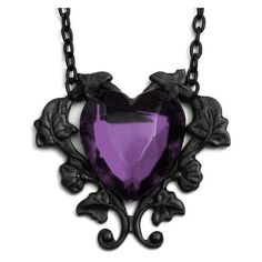 Victorian Gothic Purple Heart Necklace ❤ liked on Polyvore featuring jewelry, necklaces, gothic jewellery, gothic necklace, victorian jewelry, victorian jewellery and gothic jewel