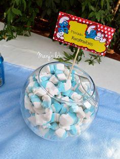 βάπτιση στρουμφάκια ζαχαρωτά marshmallows στρουμφάκια