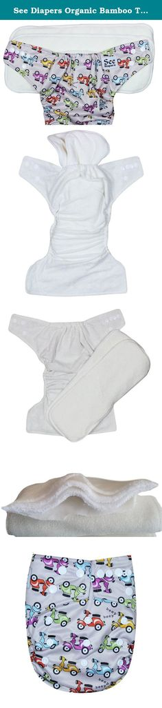 See Diapers Organic Bamboo Terry Baby Cloth Diaper - 2 Bamboo Inserts Scooter. This Organic Bamboo One Size Pocket Diaper consist of 2 parts: a waterproof outer shell + 2 large Grade A Organic bamboo inserts. The outer shell is made of high quality, durable and soft fabric. Laminated with the new and improved Thermoplastic Polyurethane (TPU), a composition specifically adapted to produce non-porous membranes exhibiting waterproof and water vapor transmissible. The result is a high...