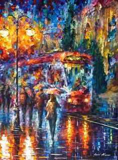 "Rainy Trolley — PALETTE KNIFE Figures Modern Wall Art Textured Oil Painting On Canvas By Leonid Afremov - Size: 30"" x 40"" (75 cm x 100 cm)"