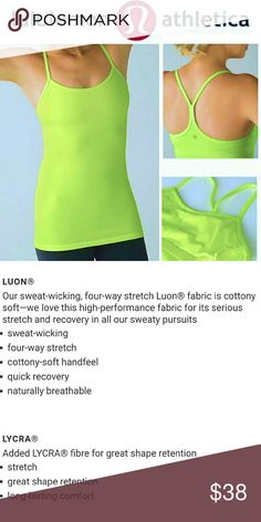 Lululemon Athletica Lime Green Power Y Tank Top Flow freely through any workout or yoga session with this 4-way stretch, moisture wicking racerback tank top. Excellent condition- like new. Built-in support with slots for optional padding. Size 4. Bright vibrant lime green color. DISCOUNTED BUNDLES AND FREE GIFT WITH PURCHASE! lululemon athletica Tops Tank Tops