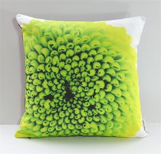 Studio Blooms Art Print Throw Pillow Green Mum