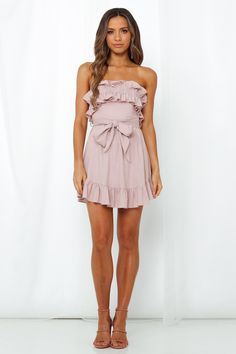 Get ALL the likes this summer with the strapless No One Around You Dress. Blush Dresses, Hey Girl, Suede Heels, No Frills, Fit And Flare, Off The Shoulder, Going Out, Strapless Dress, Party Dress