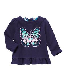 Loving this Navy Butterfly Ruffle-Hem Top - Infant on #zulily! #zulilyfinds