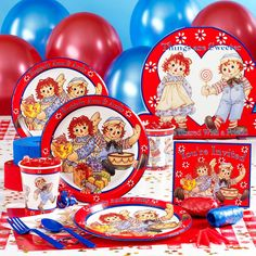Raggedy Ann Party supplies(Used these for my daughters first birthday. Kids Party Themes, Kids Party Supplies, Birthday Party Themes, Party Ideas, Birthday Ideas, Birthday Plate, Twin Birthday, Ann Doll, Raggedy Ann And Andy