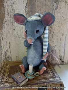 Wee William Mouse: vintage style, soft sculpture, hand painted, fabric art doll…