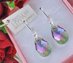 Ebay-jewellerymw-EARRINGS SWAROVSKI Elements ALMOND PARADISE SHINE AB 22mm STERLING SILVER 925-$16.05