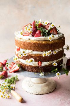 Strawberry Chamomile Naked Cake - Layer and Sheet Cakes - Desserts - Dessert Recipes Pretty Cakes, Beautiful Cakes, Amazing Cakes, Food Cakes, Cupcake Cakes, Baking Cupcakes, Cake Cookies, Super Cookies, Muffin Cupcake