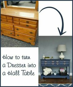 The Chic Technique: How to turn a dresser into a hall table DIY.