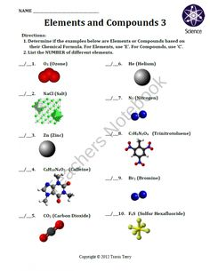 Printables Elements And Compounds Worksheet student the ojays and worksheets on pinterest worksheet elements compounds 3 product from mrterrysscience teachersnotebook com