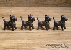 SET of 4 Brown Scotty Dog Knobs Scottish Terrier by knobpologie