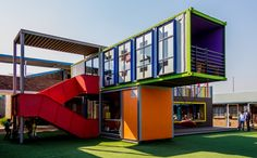 "DIFFERENT LIBRARIES AROUND THE WORLD: SCHOOL LIBRARY  March 19, 2015 ·	by interlibnet. photo: ""SEED Library II"" by Andrew Moore CC-BY-SA 2.0. The stunning SEED Library in Johannesburg,South Africa created from brightly coloured recycled shipping containers."