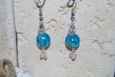Blue Lampwork and Pink Crystal Dangle Earrings by LadyJsOddsAndEnds on Etsy