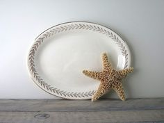 White China Platter with Gold Leaves Knowles by 22BayRoad on Etsy, $18.00