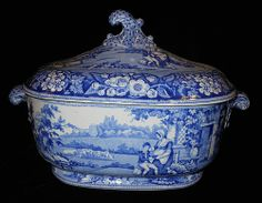 blue & white tureen | Early Blue and White Scenic Staffordshire Soup Tureen. Pattern: Blind ...