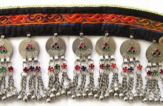 Pakistani Afghani Kuchi Choker Necklace #7 with Coins for ATS® Tribal Style Bellydance  Vintage Kuchi choker necklace #7 with blue cotton front with warm yellow filled with fuchsia, red, purple and p