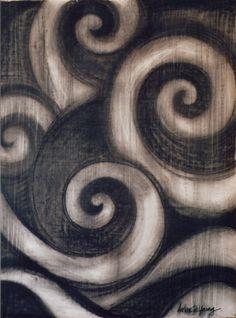 "The Koru - Maori Symbol of Creation The koru (Māori for ""loop"") is a spiral shape based on the shape of a new unfurling silver fern frond and symbolizing new life, growth, strength and peace. Maori Symbols, Maori Patterns, Polynesian Art, Maori Designs, New Zealand Art, Nz Art, Maori Art, Kiwiana, Spiral Shape"