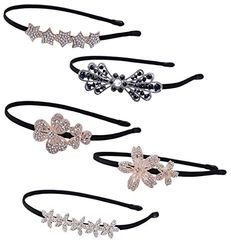 LiveZone 5Style5Pcs Lady Women Girls Elegent Hair Head Accessories Ornaments Crystal Hair BandHair Hoop Beautiful Lovely Head Band Wear Headbands Headdress Headwrap Flowers Bow and Stars Shape ** Read more  at the image link.Note:It is affiliate link to Amazon.