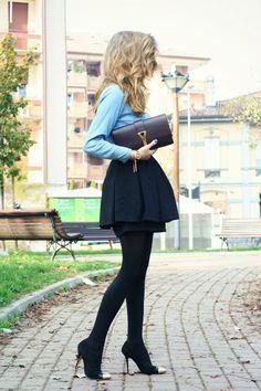 Peplum skirt and denim blouse #fashion #winter #peplum